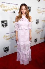Katharine McPhee went the ultra-girly route in a ruffled pink halter gown for her Once Upon a Time Gala look.