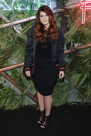 Meghan Trainor was sporty in a black varsity jacket by Coach at the Friends of the High Line Summer Party.