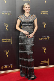 Lake Bell was a style standout in this beaded silver and black gown by Naeem Khan at the 2016 Creative Arts Emmy Awards.