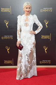 Julianne Hough looked like a vampy bride in this sheer white floral gown by Zuhair Murad at the 2016 Creative Arts Emmy Awards.