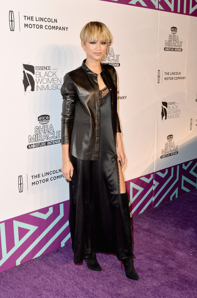 Zendaya Coleman played with contrasts, teaming her delicate dress with a tough-looking leather button-down.