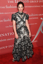 Ruth Wilson went the frilly route in a tiered, monochrome floral gown by Erdem at the 2016 Fashion Group International Night of Stars Gala.