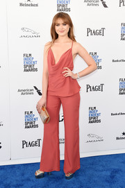 Kristina Bazan looked sensual in a dark coral cowl-neck cami by C/Meo Collective at the Film Independent Spirit Awards.