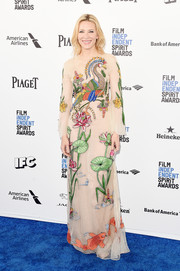 Cate Blanchett embraced color for her Film Independent Spirit Awards look, wearing this Gucci gown featuring Oriental-inspired embroidery.