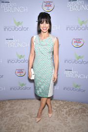 Constance Zimmer chose a geometric-print cowl-neck dress for the 2016 Garden Brunch.