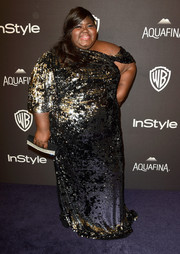 Gabourey Sidibe was all aglitter in an asymmetrical sequin gown at the InStyle and Warner Bros. Golden Globes post-party.