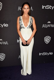Cara Santana caught eyes in a low-cut, wide-leg jumpsuit by Thai Nguyen Atelier at the InStyle and Warner Bros. Golden Globes post-party.