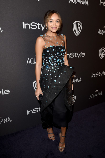 Ashley Madekwe completed her look with silver Tamara Mellon Frontline sandals.
