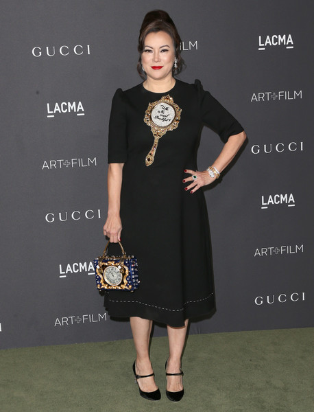 Jennifer Tilly went whimsical-chic in a Snow White-motif LBD at the 2016 LACMA Art + Film Gala.