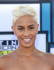 Sibley Scoles wore her hair in a platinum-blonde fauxhawk at the 2016 Latin American Music Awards.