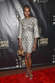 Danai Gurira kept it classy in a silver print dress at the 2016 Lucille Lortel Awards.