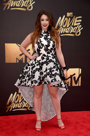 Jillian Rose Reed was hard to miss in her black-and-white high-low halter dress by Asilio at the MTV Movie Awards.