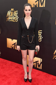 Vanessa Marano donned a black tux-style romper for her MTV Movie Awards red carpet look.