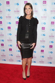 Savannah Guthrie pulled her outfit together with a black leather pencil skirt.