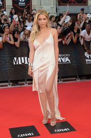 Ashley Benson looked super seductive in a champagne-hued fishtail slip dress by Juan Carlos Obando at the 2016 Much Music Video Awards.