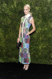 Poppy Delevingne was a delight to behold wearing this multicolored shirtdress by Chanel at the 2016 MoMA Film Benefit.