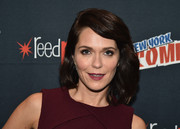 Katie Aselton wore shoulder-length waves with a deep side part at the 2016 New York Comic Con.