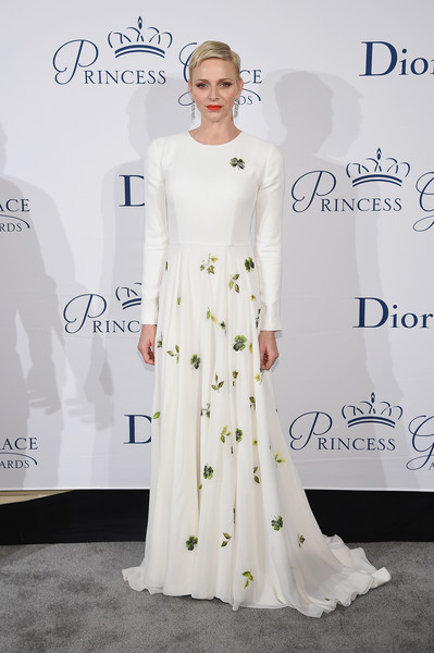 Charlene Wittstock was all about simple elegance in a long-sleeve white Dior Couture gown with a leaf-print skirt during the Princess Grace Awards Gala.
