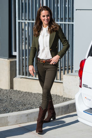 Kate Middleton teamed a forest-green Smythe blazer with a white pussybow blouse and brown jeans for her visit to the Haida Gwaii Hospital in Canada.