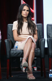 Jordana Brewster sported a monochromatic attire, consisting of strappy heels and a sheath dress, during day 13 of the 2016 Summer TCA Tour.