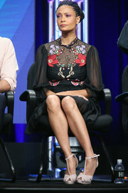 Thandie Newton paired her lovely dress with cream-colored T-strap peep-toes.
