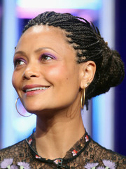 Thandie Newton added extra zing with purple eyeshadow.
