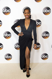Regina King looked va-va-voom in a black gown with a plunging neckline and a high slit during the Disney ABC Summer TCA Tour.