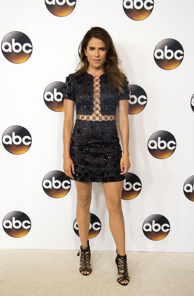 Karla Souza went for some '60s flare in this Michael Kors flower-appliqued cutout mini dress at the Disney ABC Summer TCA Tour.