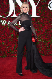 Judith Light chose a sheer-panel black jumpsuit with a dramatic train for her 2016 Tony Awards look.