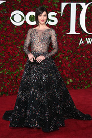 Mary Elizabeth Winstead looked playfully elegant in a confetti-beaded, illusion-bodice ball gown by Zuhair Murad that she paired with Atelier Swarovski jewelry at the 2016 Tony Awards.