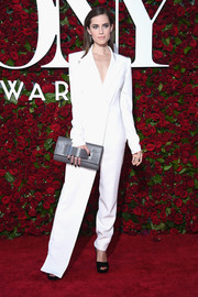 Allison Williams went the masculine-chic route in a white tux-style jumpsuit by DKNY during the 2016 Tony Awards.