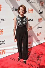 Sigourney Weaver donned a black-and-white Max Mara jumpsuit with a spotted bodice for the TIFF premiere of 'A Monster Calls.'