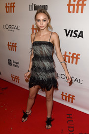 Lily-Rose Depp was flapper-glam in this black and seafoam-green spaghetti-strap dress by Chanel at the TIFF premiere of 'Planetarium.'