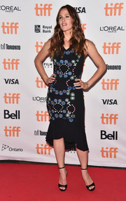Jennifer Garner cut a shapely silhouette in this Peter Pilotto embroidered, ruffle-hem dress during the TIFF premiere of 'Wakefield.'
