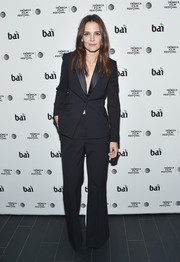 Katie Holmes looked very polished in a black Brooks Brothers pantsuit during the Tribeca Film Fest after-party for 'All We Had.'