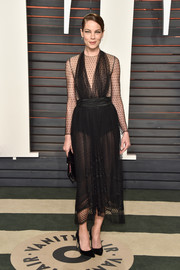 Michelle Monaghan put plenty of skin on show in this vintage Bill Blass Swiss-dot LBD during the Vanity Fair Oscar party.