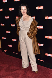 Debi Mazar went for laid-back sophistication in a taupe cowl-neck jumpsuit at the Viacom Kids and Family Group Upfront.