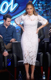 Jennifer Lopez sported a chic lace LWD by Lover at the Winter TCA Tour.