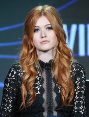 Katherine McNamara styled her red locks with elegant curls at the Winter TCA Tour.