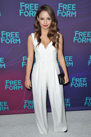 Aimee Carrero wore a white jumpsuit at the Winter TCA Tour.