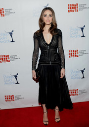 Emmy Rossum chose an elegant bugle-beaded LBD by J. Mendel for her Writers Guild Awards red carpet look.