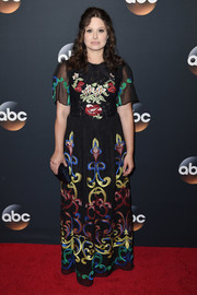 Katie Lowes went boho in an embroidered maxi dress at the 2017 ABC Upfront.