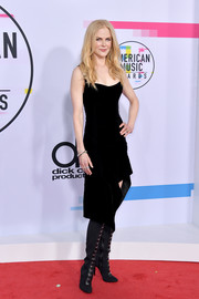 Nicole Kidman went for a super-edgy finish with a pair of black over-the-knee boots by Giuseppe Zanotti.