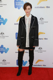 Ruby Rose attended the 2017 Australian Emmy nominee reception wearing an oversized jacket over a polka-dot blouse.