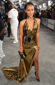 Jada Pinkett Smith arrived for the 2017 BET Awards wearing a show-stopping gold sequin halter gown by Alexandre Vauthier Couture.