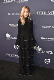 Rachel Zoe donned a long-sleeve, tiered black gown from her label for the 2017 Baby2Baby Gala.