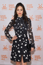 Emmy Rossum went girly in a black-and-white floral frock by Carven for the 2017 Best Friends Benefit to Save Them All.