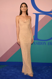 Lily Aldridge looked alluring in a studded, cowl-neck slip gown by Jason Wu at the 2017 CFDA Fashion Awards.