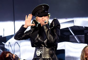 Lady Gaga paired an oversized black belt with a leather coat for her Coachella performance.