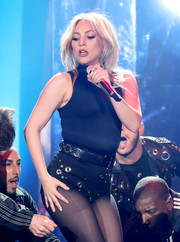 Lady Gaga completed her skimpy outfit with a pair of grommeted hot pants.